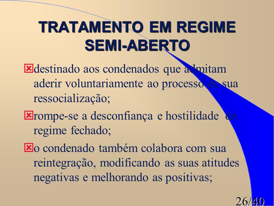 TRATAMENTO EM REGIME SEMI-ABERTO