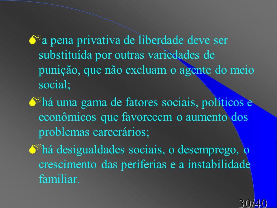 a pena privativa de liberdade deve ser substituída por outras variedades de punição, que não excluam o agente do meio social;