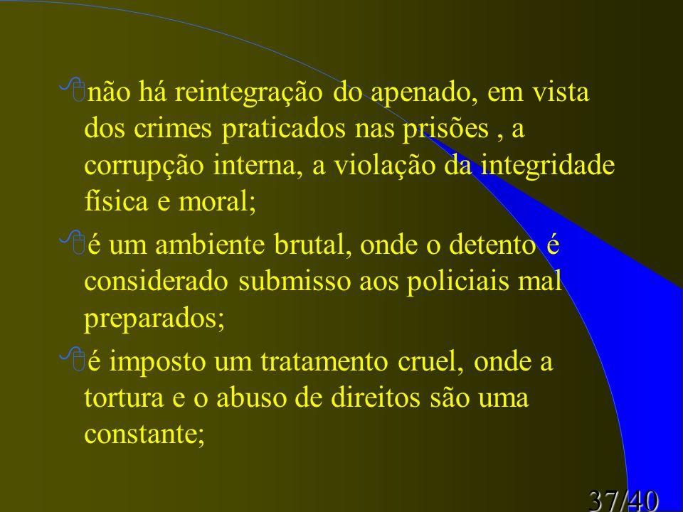 não há reintegração do apenado, em vista dos crimes praticados nas prisões , a corrupção interna, a violação da integridade física e moral;