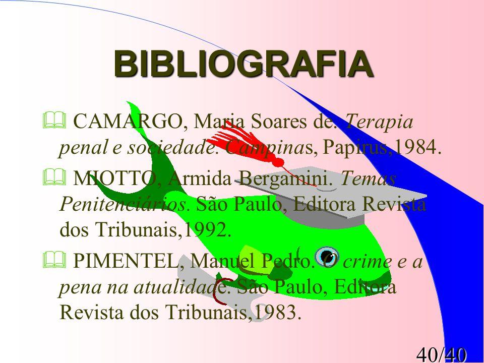 BIBLIOGRAFIA CAMARGO, Maria Soares de. Terapia penal e sociedade. Campinas, Papirus,1984.