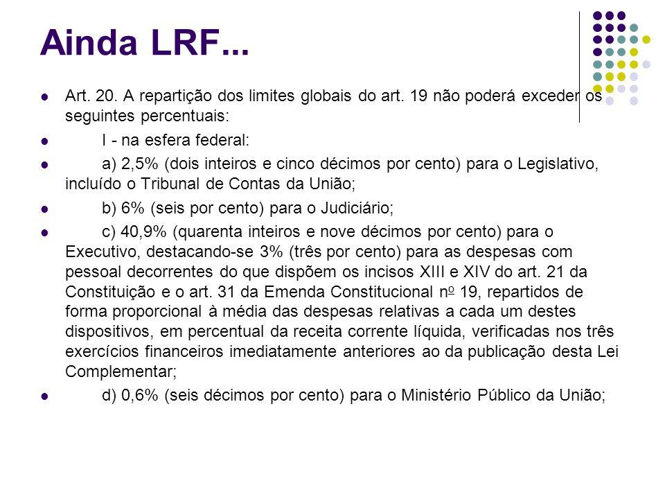 Ainda LRF... Art. 20. A repartição dos limites globais do art. 19 não poderá exceder os seguintes percentuais: