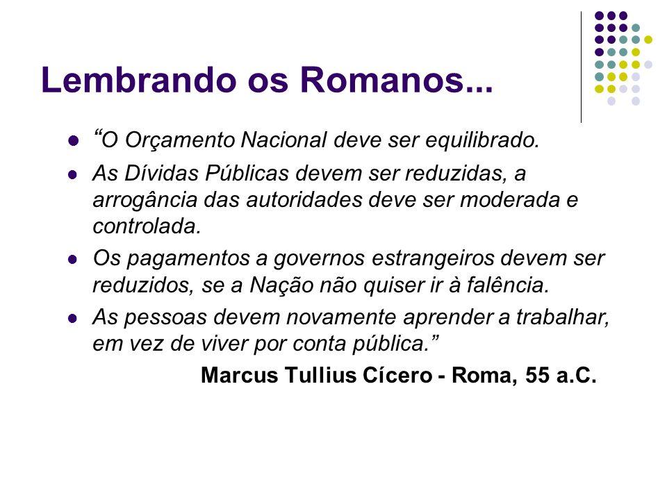 Lembrando os Romanos... O Orçamento Nacional deve ser equilibrado.
