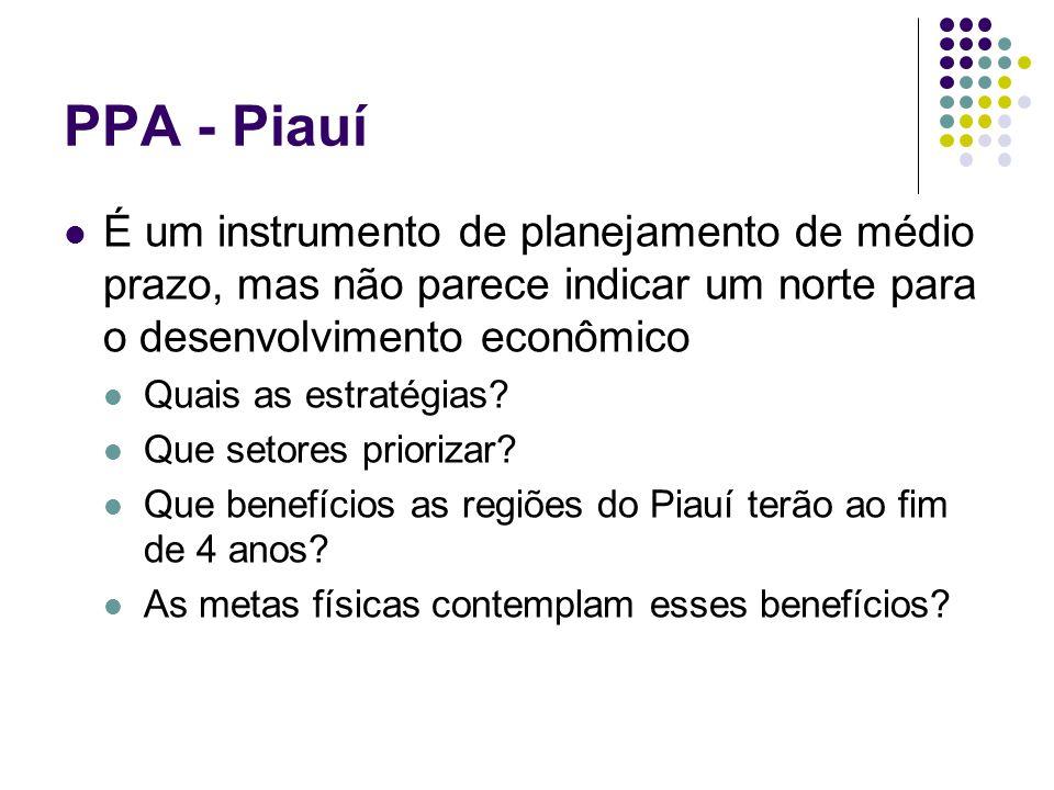 PPA - Piauí É um instrumento de planejamento de médio prazo, mas não parece indicar um norte para o desenvolvimento econômico.