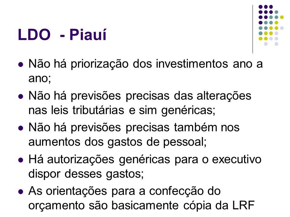 LDO - Piauí Não há priorização dos investimentos ano a ano;