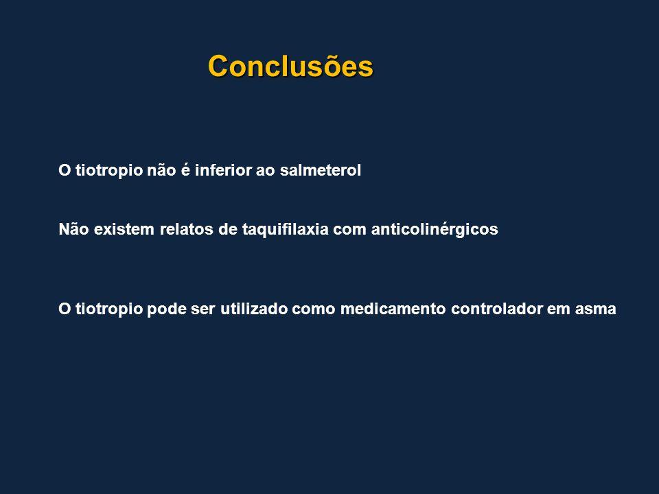 Conclusões O tiotropio não é inferior ao salmeterol