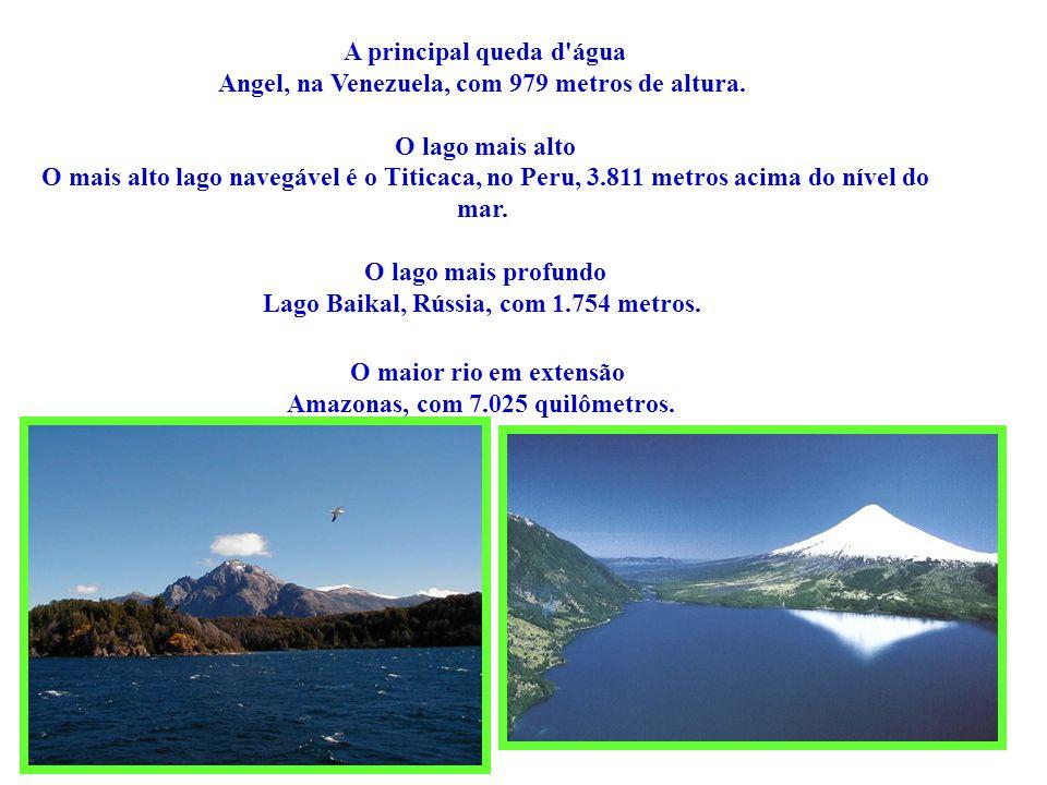 O maior rio em extensão Amazonas, com 7.025 quilômetros.