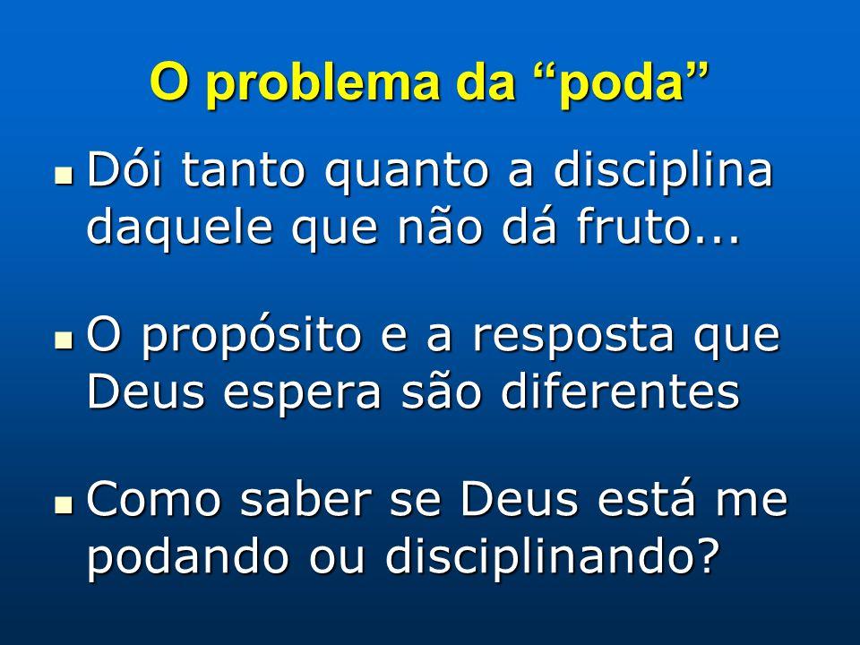 O problema da poda Dói tanto quanto a disciplina daquele que não dá fruto... O propósito e a resposta que Deus espera são diferentes.