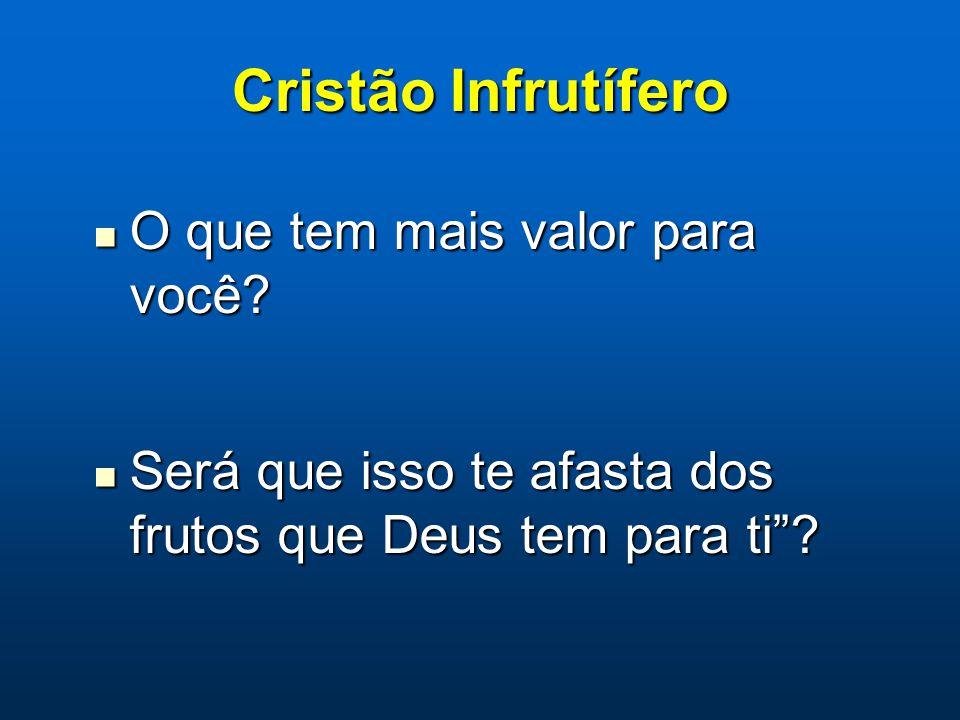 Cristão Infrutífero O que tem mais valor para você