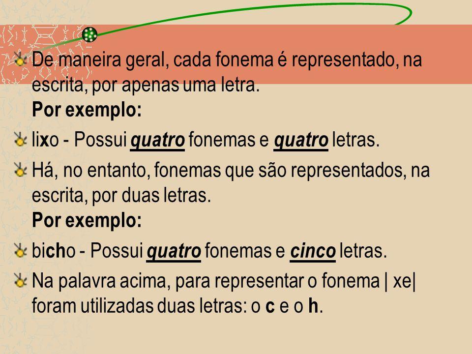 De maneira geral, cada fonema é representado, na escrita, por apenas uma letra. Por exemplo: