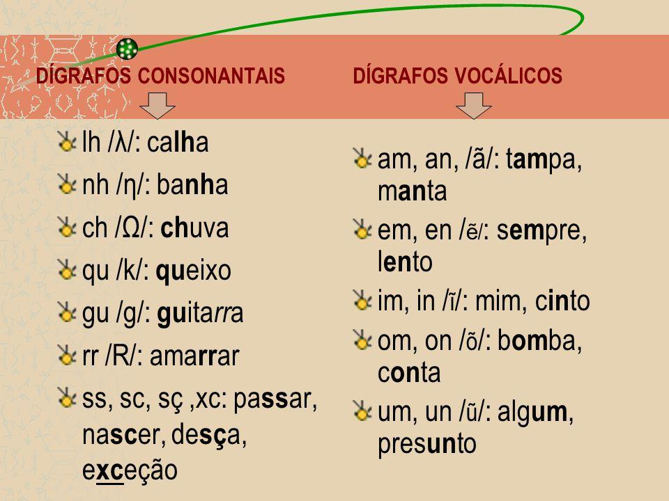DÍGRAFOS CONSONANTAIS DÍGRAFOS VOCÁLICOS