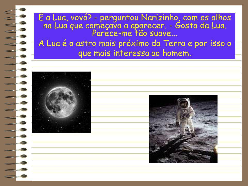E a Lua, vovó - perguntou Narizinho, com os olhos na Lua que começava a aparecer. - Gosto da Lua. Parece-me tão suave...