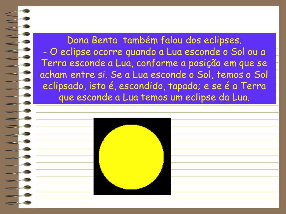 Dona Benta também falou dos eclipses.