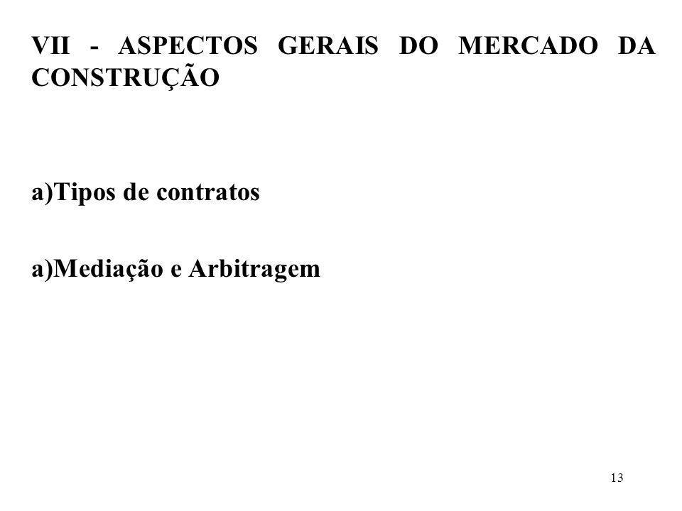 VII - ASPECTOS GERAIS DO MERCADO DA CONSTRUÇÃO