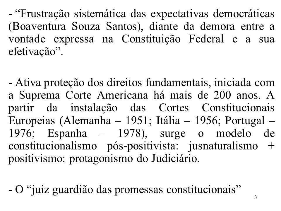 Frustração sistemática das expectativas democráticas (Boaventura Souza Santos), diante da demora entre a vontade expressa na Constituição Federal e a sua efetivação .