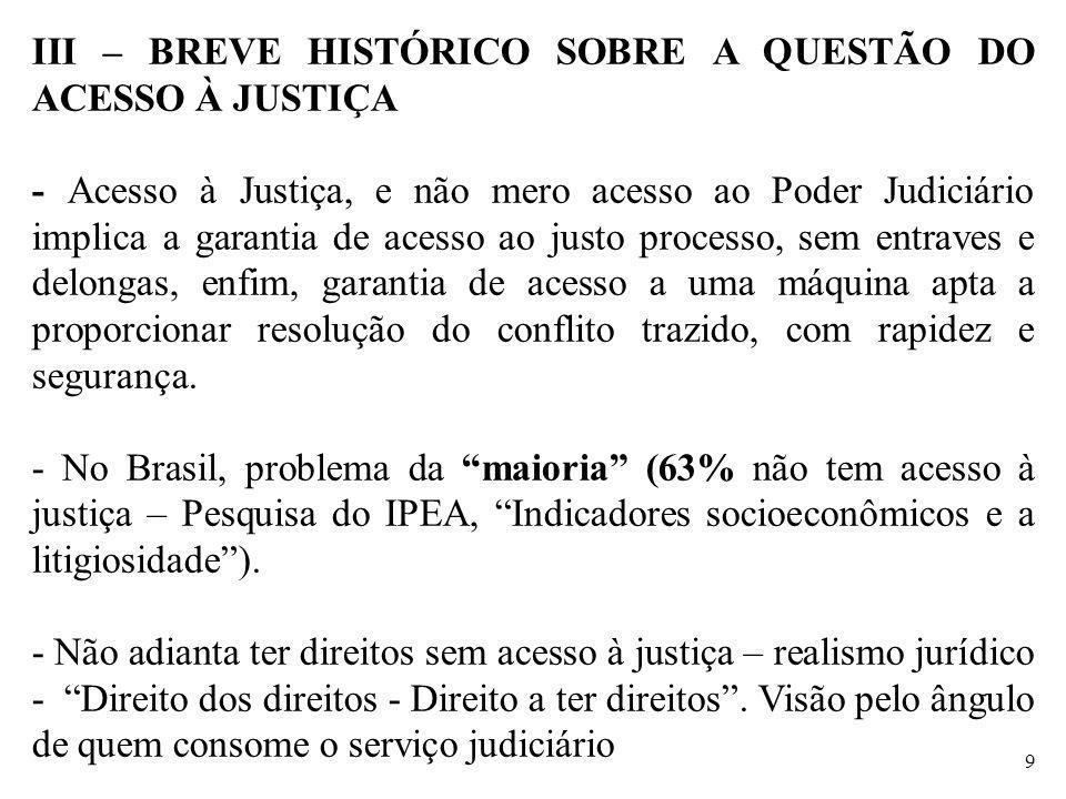 III – BREVE HISTÓRICO SOBRE A QUESTÃO DO ACESSO À JUSTIÇA