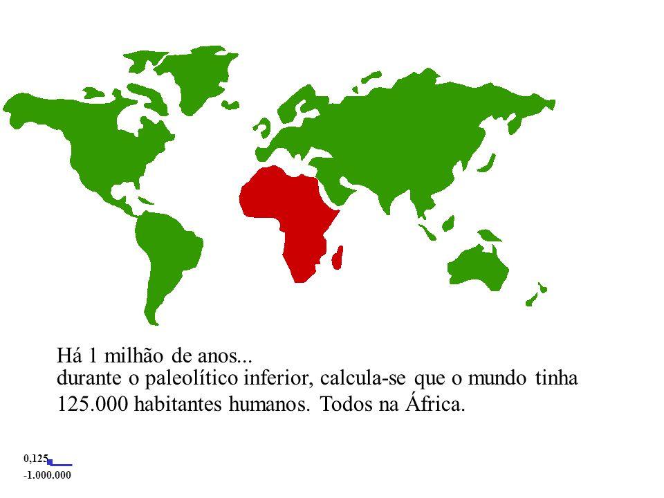 Há 1 milhão de anos... durante o paleolítico inferior, calcula-se que o mundo tinha 125.000 habitantes humanos. Todos na África.