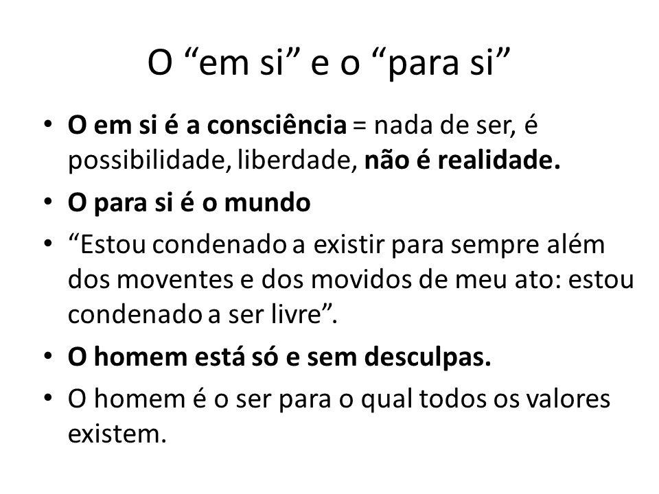 O em si e o para si O em si é a consciência = nada de ser, é possibilidade, liberdade, não é realidade.