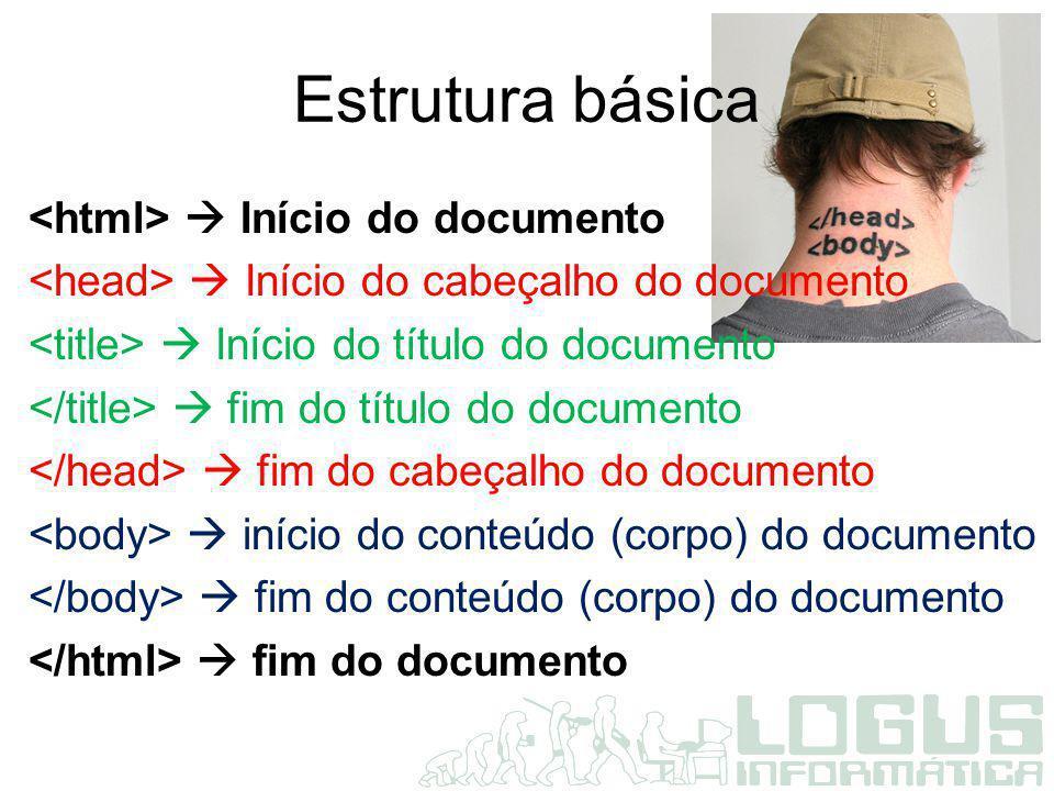 Estrutura básica <html>  Início do documento