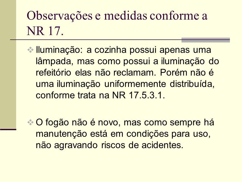 Observações e medidas conforme a NR 17.