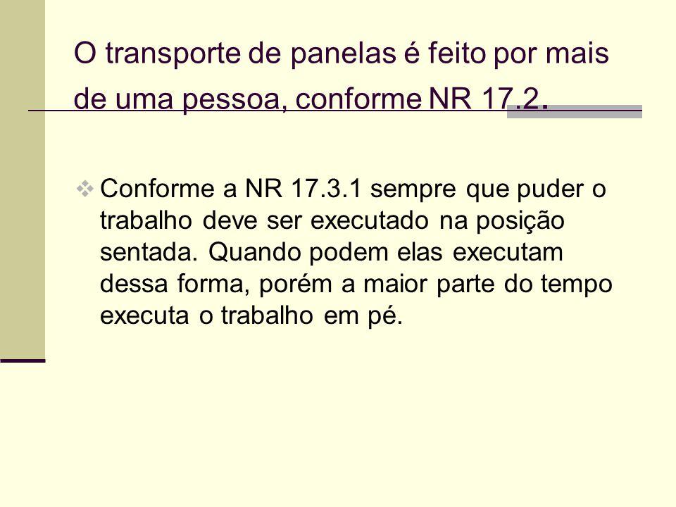O transporte de panelas é feito por mais de uma pessoa, conforme NR 17