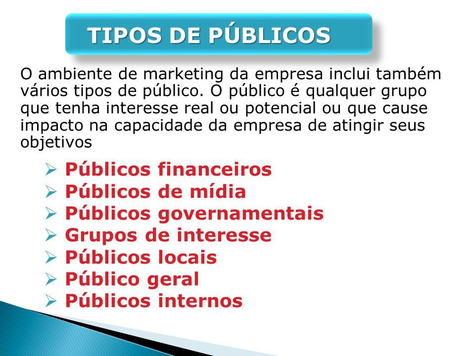 Públicos governamentais Grupos de interesse Públicos locais