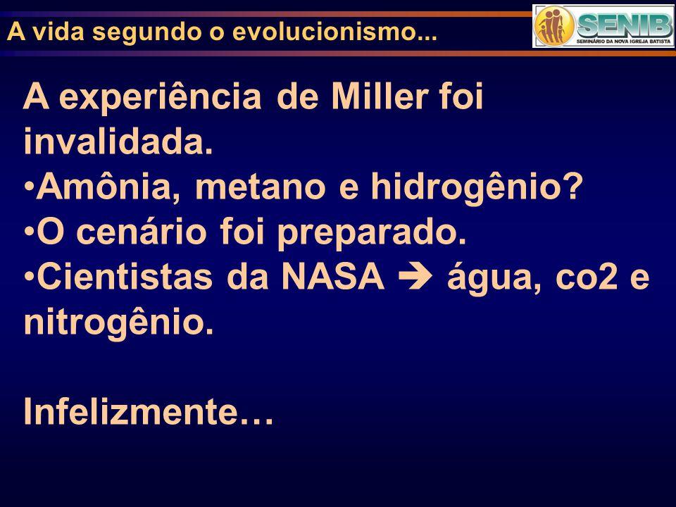 A experiência de Miller foi invalidada. Amônia, metano e hidrogênio