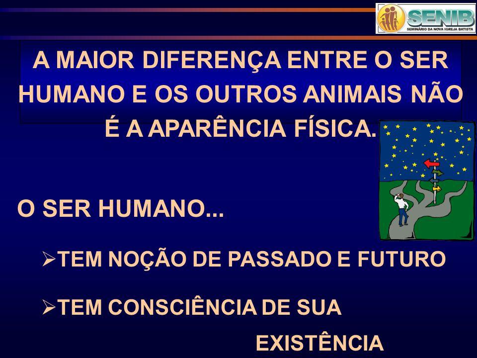 A MAIOR DIFERENÇA ENTRE O SER HUMANO E OS OUTROS ANIMAIS NÃO É A APARÊNCIA FÍSICA.