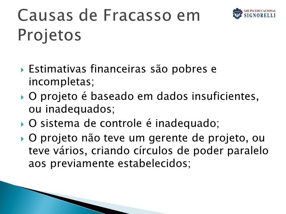Estimativas financeiras são pobres e incompletas;