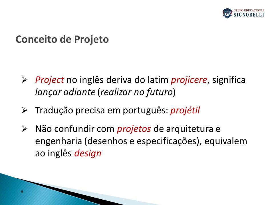 Conceito de Projeto Project no inglês deriva do latim projicere, significa lançar adiante (realizar no futuro)