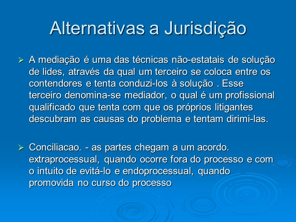 Alternativas a Jurisdição