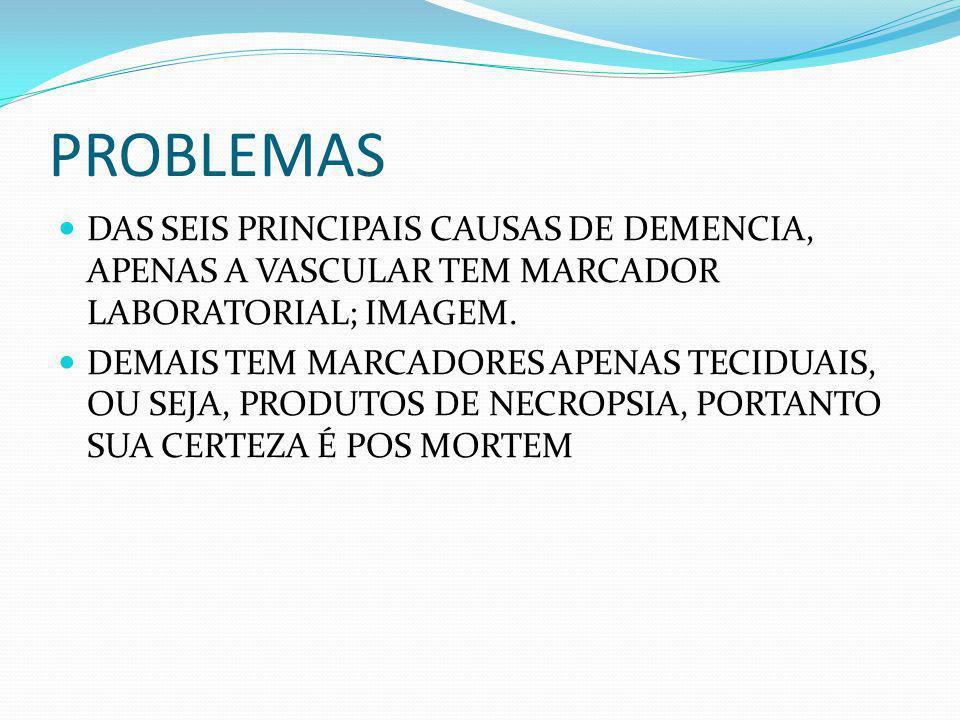 PROBLEMAS DAS SEIS PRINCIPAIS CAUSAS DE DEMENCIA, APENAS A VASCULAR TEM MARCADOR LABORATORIAL; IMAGEM.