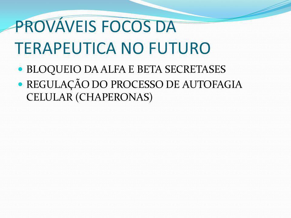 PROVÁVEIS FOCOS DA TERAPEUTICA NO FUTURO