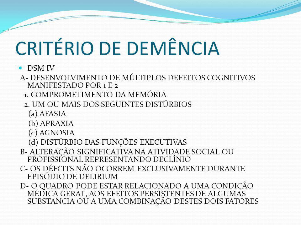 CRITÉRIO DE DEMÊNCIA DSM IV