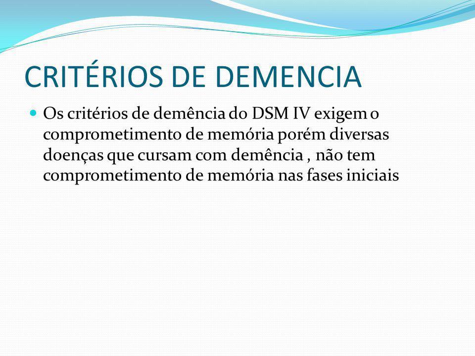CRITÉRIOS DE DEMENCIA