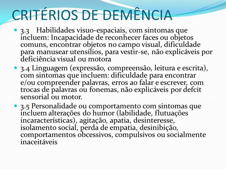 CRITÉRIOS DE DEMÊNCIA