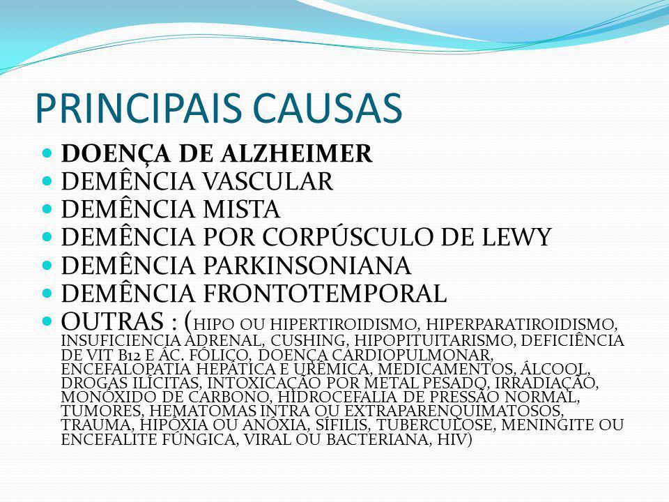 PRINCIPAIS CAUSAS DOENÇA DE ALZHEIMER DEMÊNCIA VASCULAR DEMÊNCIA MISTA