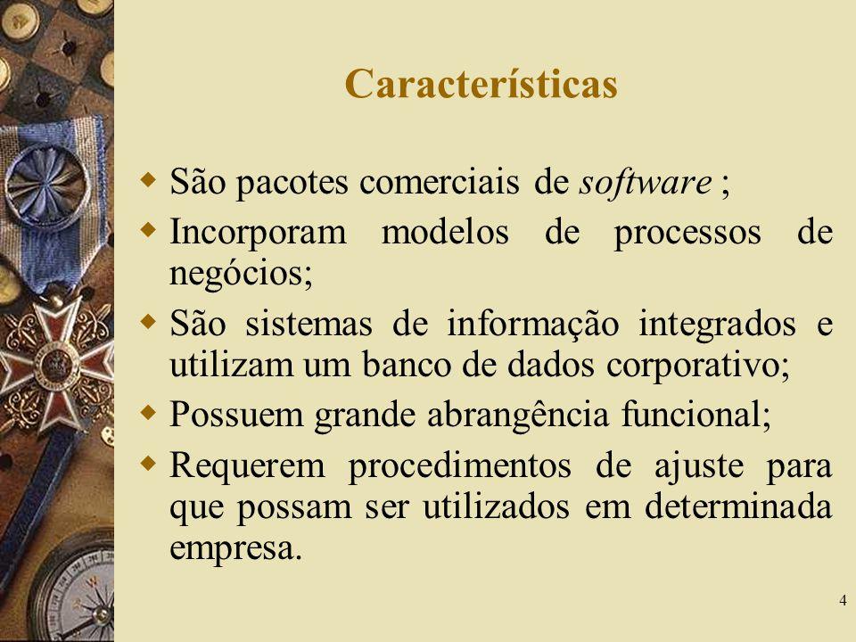 Características São pacotes comerciais de software ;