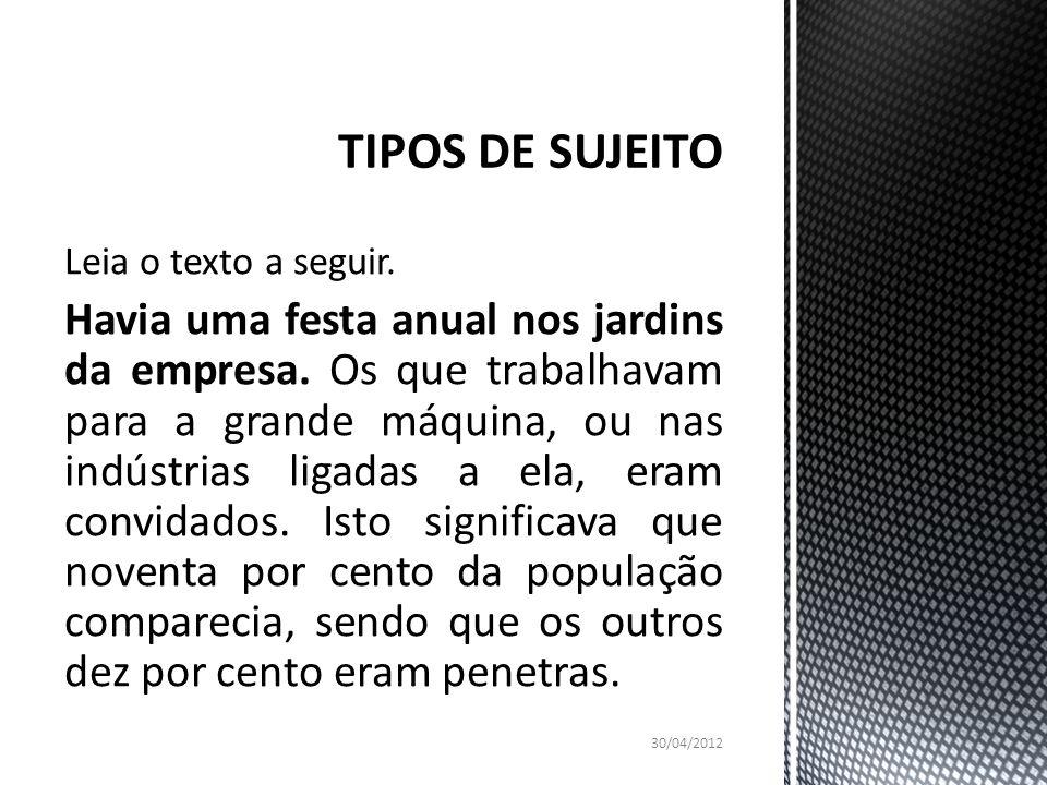 TIPOS DE SUJEITO Leia o texto a seguir.