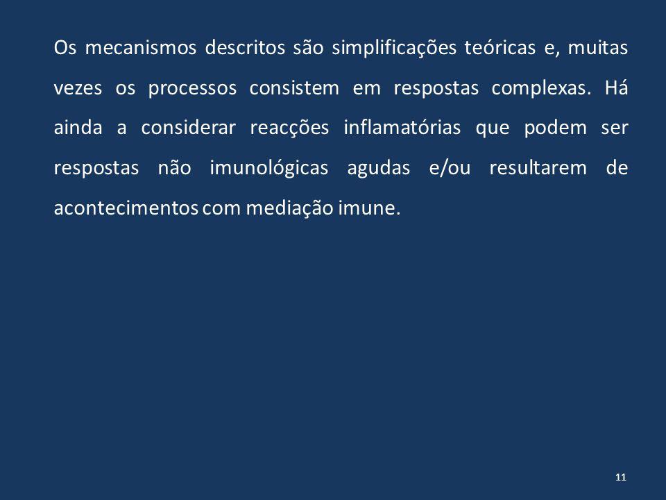 Os mecanismos descritos são simplificações teóricas e, muitas vezes os processos consistem em respostas complexas.
