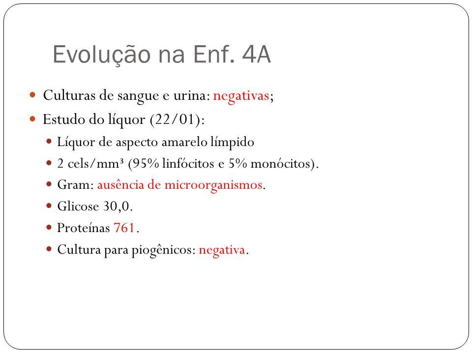 Evolução na Enf. 4A Culturas de sangue e urina: negativas;