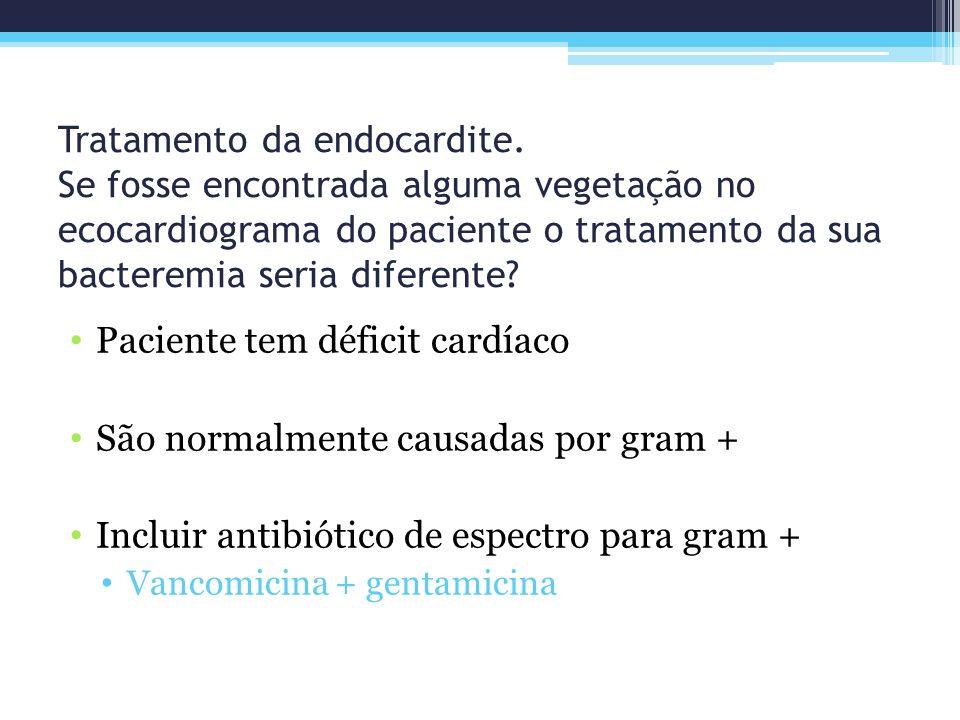 Paciente tem déficit cardíaco São normalmente causadas por gram +