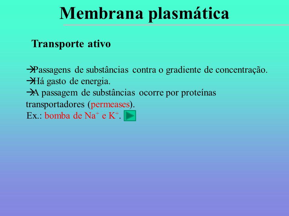 Membrana plasmática Transporte ativo