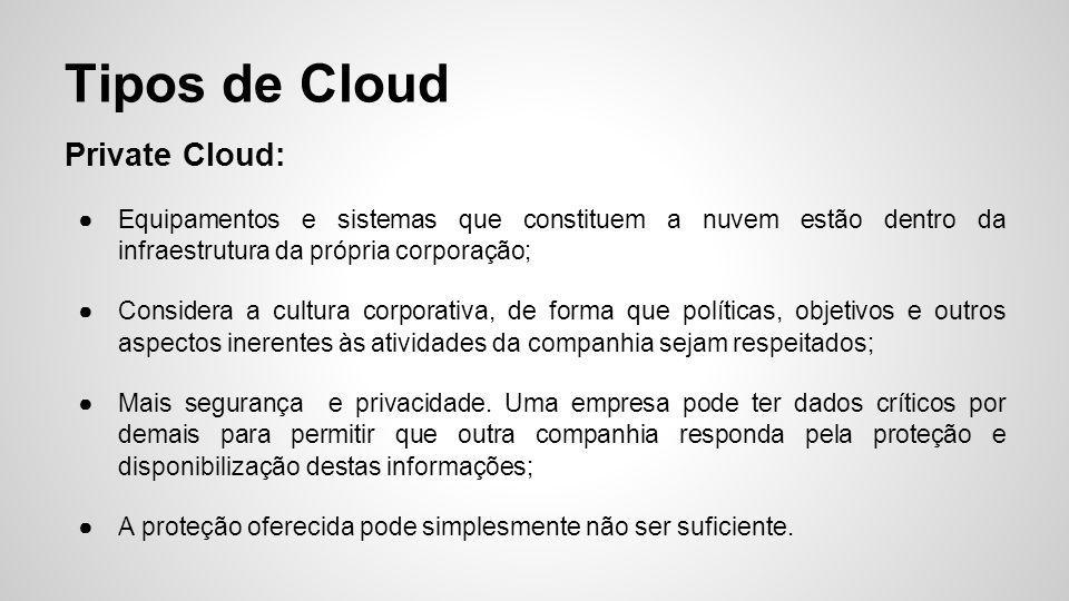 Tipos de Cloud Private Cloud:
