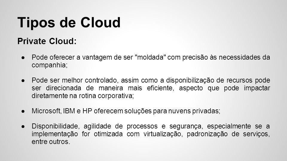 Tipos de Cloud Hybrid Cloud: Flexibilidade de operações;