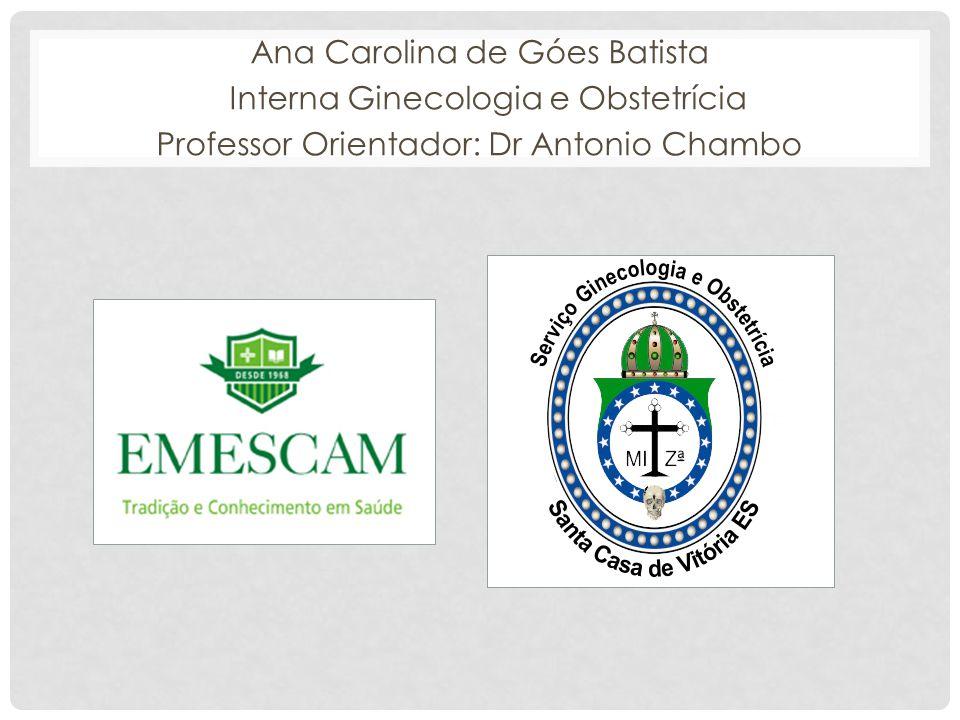 Ana Carolina de Góes Batista Interna Ginecologia e Obstetrícia Professor Orientador: Dr Antonio Chambo