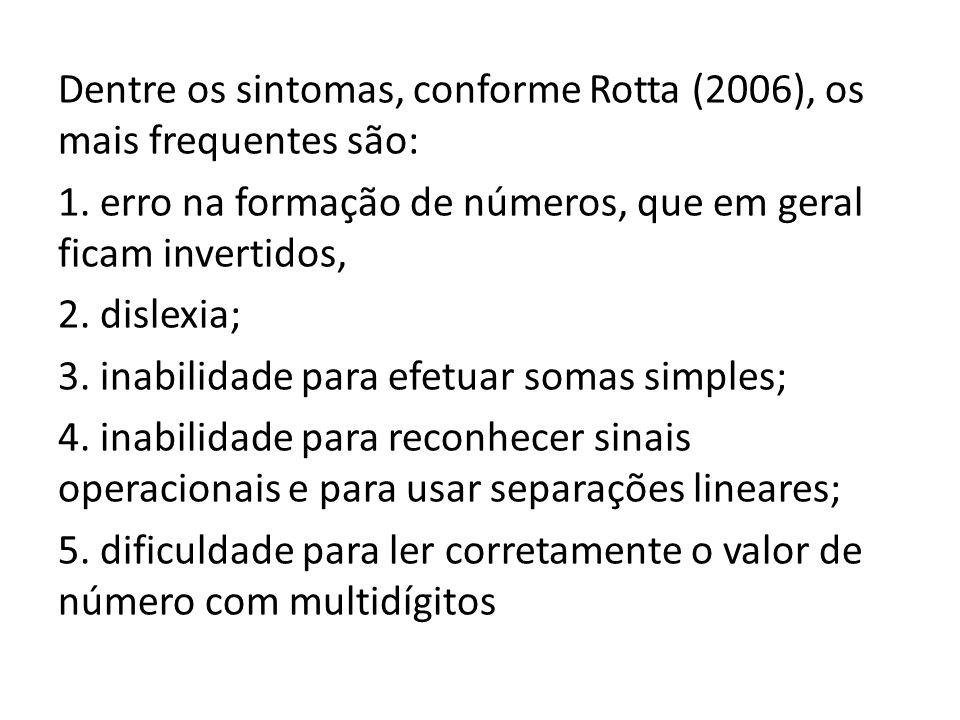 Dentre os sintomas, conforme Rotta (2006), os mais frequentes são: 1