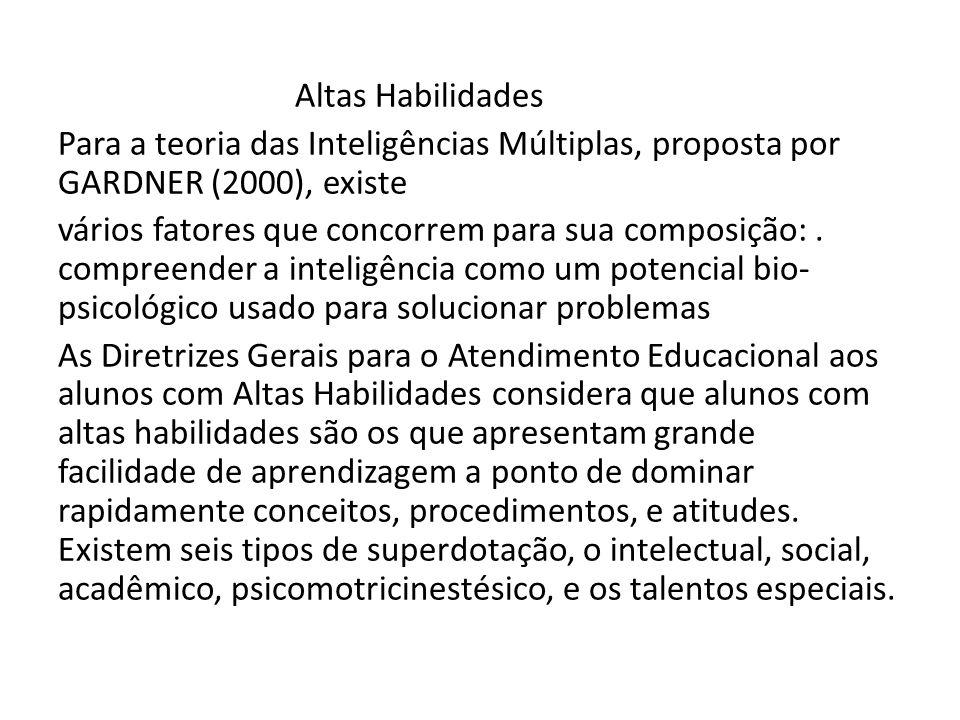 Altas Habilidades Para a teoria das Inteligências Múltiplas, proposta por GARDNER (2000), existe vários fatores que concorrem para sua composição: .