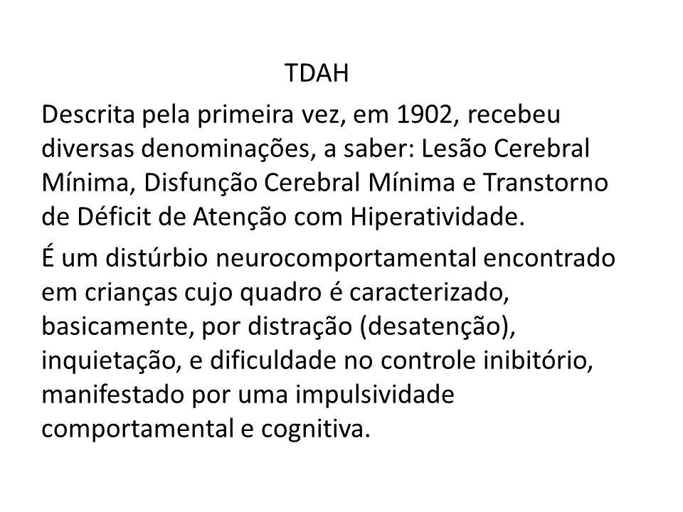 TDAH Descrita pela primeira vez, em 1902, recebeu diversas denominações, a saber: Lesão Cerebral Mínima, Disfunção Cerebral Mínima e Transtorno de Déficit de Atenção com Hiperatividade.
