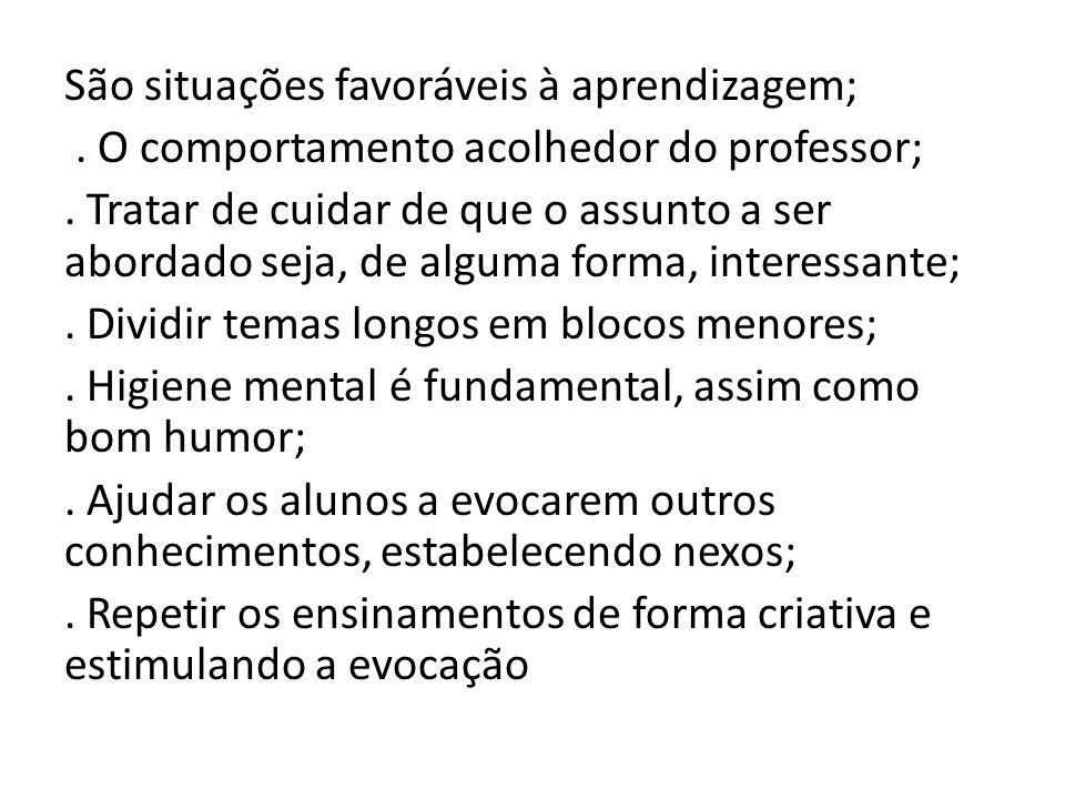 São situações favoráveis à aprendizagem;