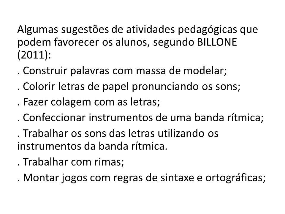 Algumas sugestões de atividades pedagógicas que podem favorecer os alunos, segundo BILLONE (2011): .